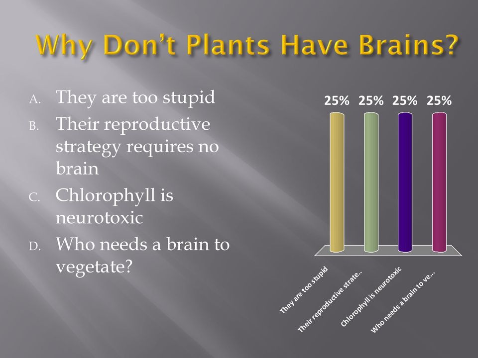 Chlorophyll is neurotoxic D. Who needs a brain to vegetate?