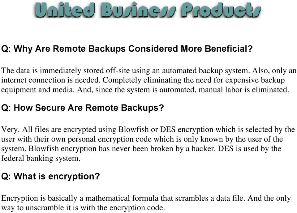 All files are encrypted using Blowfish or DES encryption which is selected by the user with their own personal encryption code which is only known by the user of the system.