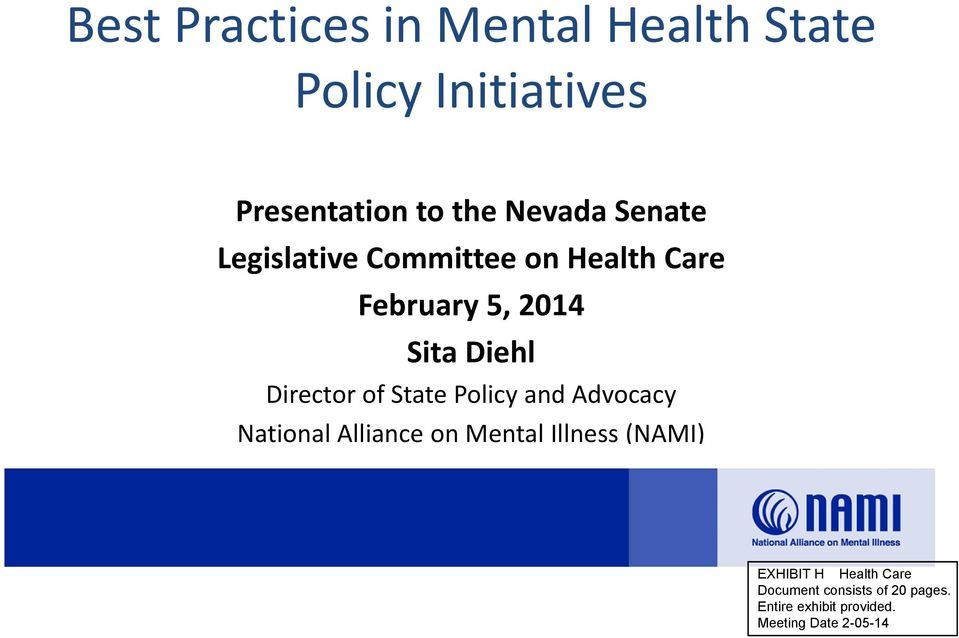 State Policy and Advocacy National Alliance on Mental Illness (NAMI) EXHIBIT H