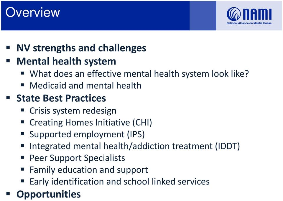 Medicaid and mental health State Best Practices Crisis system redesign Creating Homes Initiative (CHI)