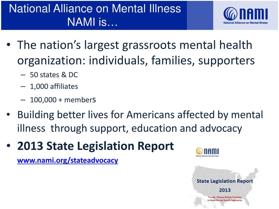 100,000 + members Building better lives for Americans affected by mental illness