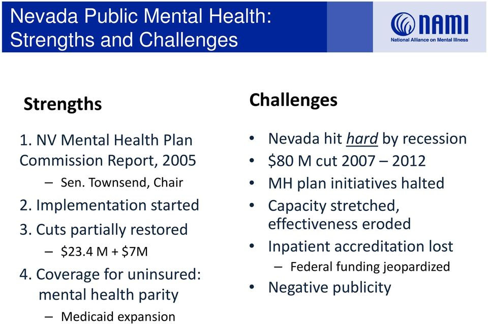 Coverage for uninsured: mental health parity Medicaid expansion Challenges Nevada hit hard by recession $80 M cut