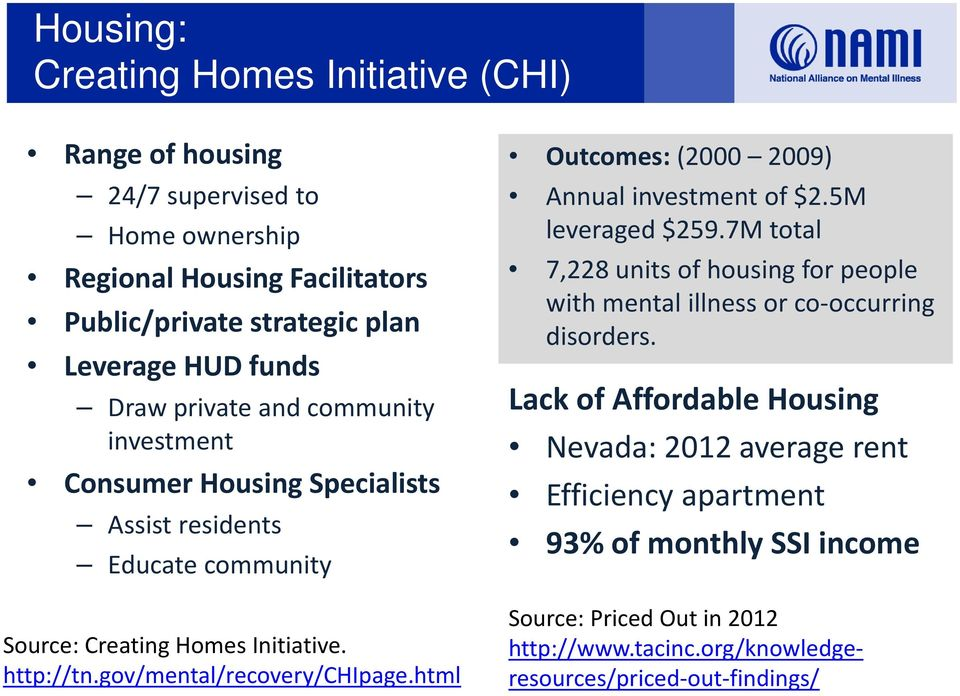 gov/mental/recovery/chipage.html Outcomes: (2000 2009) Annual investment of $2.5M leveraged $259.