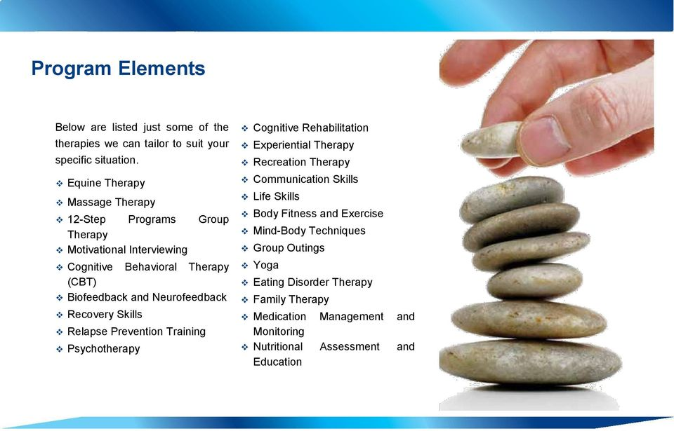 Neurofeedback Recovery Skills Relapse Prevention Training Psychotherapy Cognitive Rehabilitation Experiential Therapy Recreation Therapy