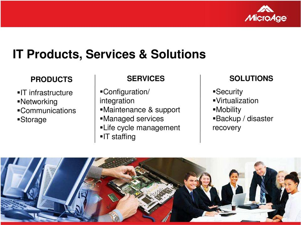 & support Managed services Life cycle management IT staffing SOLUTIONS