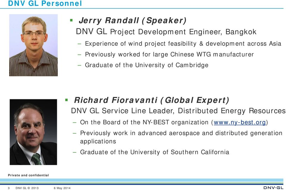 (Global Expert) DNV GL Service Line Leader, Distributed Energy Resources On the Board of the NY-BEST organization (www.ny-best.