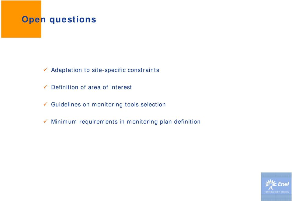 Guidelines on monitoring tools selection