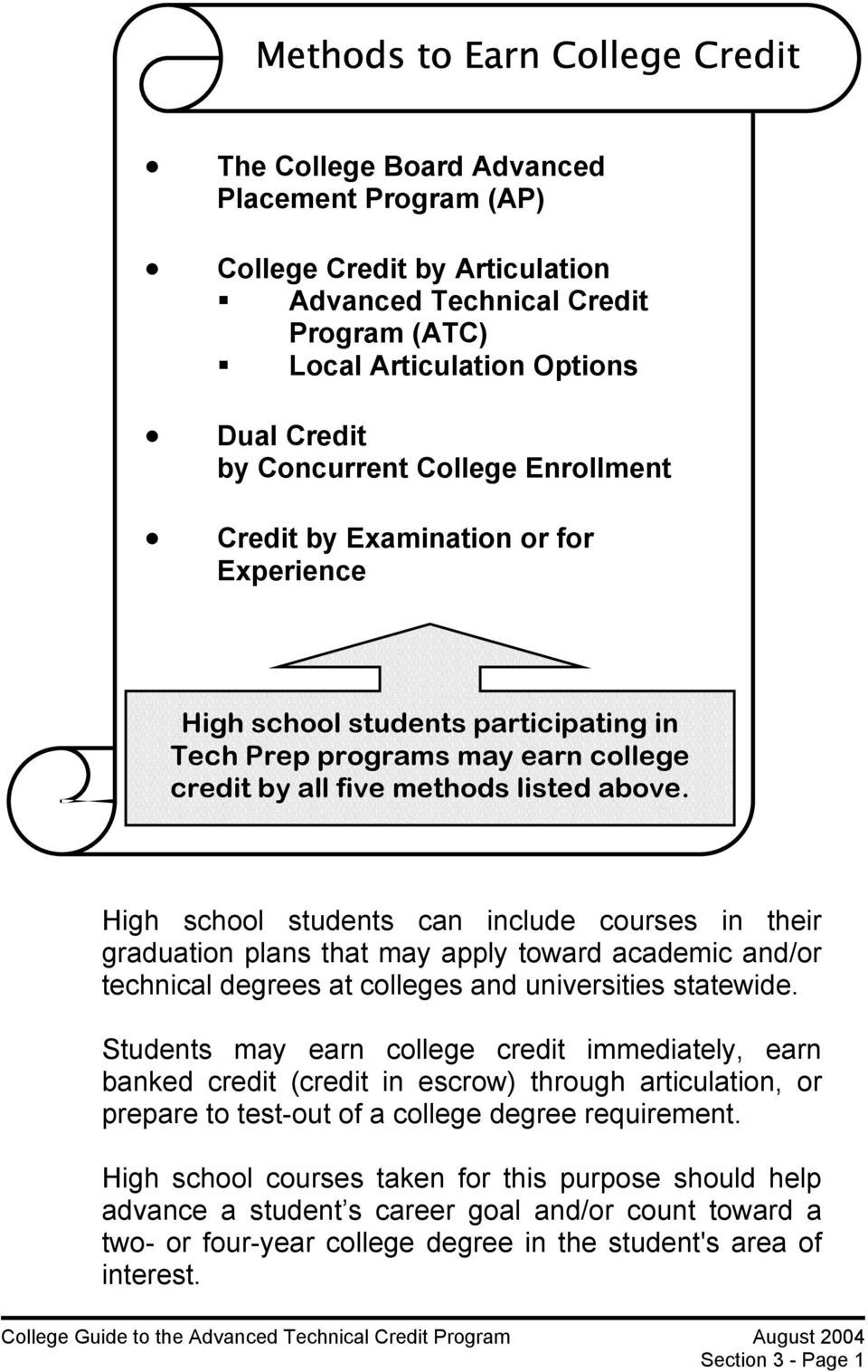 High school students can include courses in their graduation plans that may apply toward academic and/or technical degrees at colleges and universities statewide.