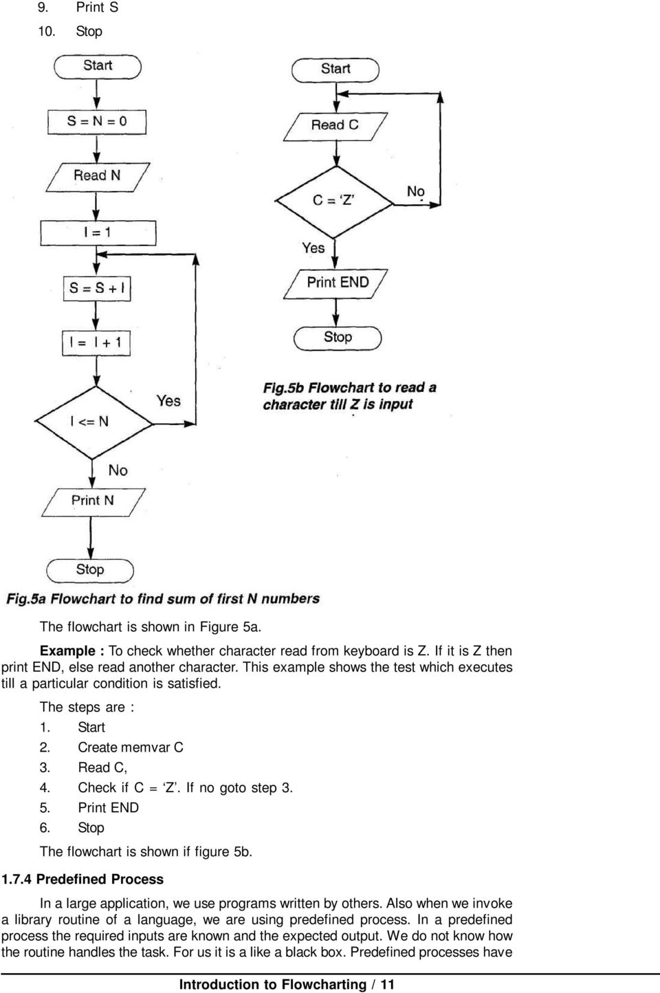 Stop The flowchart is shown if figure 5b. 1.7.4 Predefined Process In a large application, we use programs written by others.
