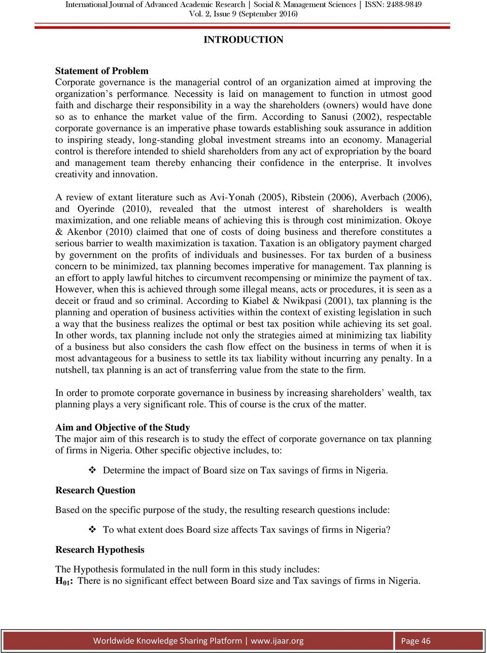 CORPORATE GOVERNANCE MECHANISM AND TAX PLANNING IN NIGERIA - PDF