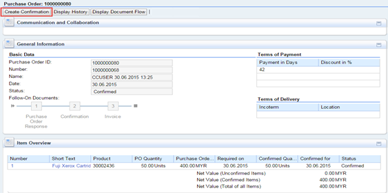 Step 4: A new page opens, showing the details of the Purchase Order. Click on Create Confirmation.