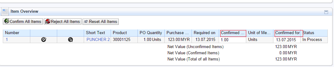 3. How to Acknowledge a Purchase Order: Step 1: After going to the detailed view of the Purchase Order (Refer to Section 2), click on Process.