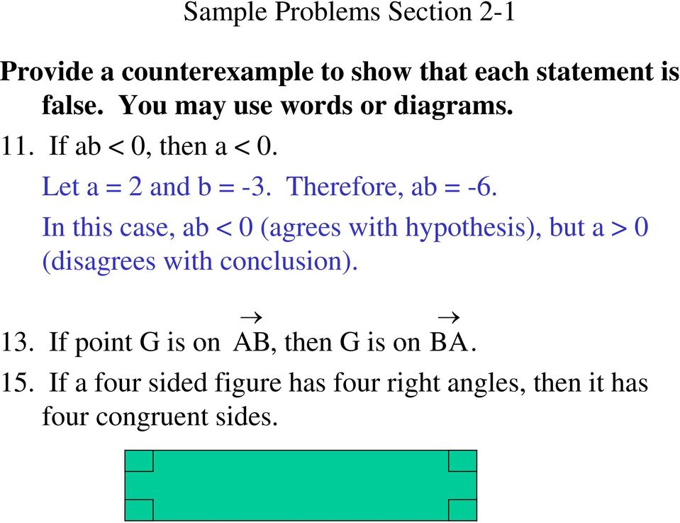 In this case, ab < 0 (agrees with hypothesis), but a > 0 (disagrees with conclusion). 13.