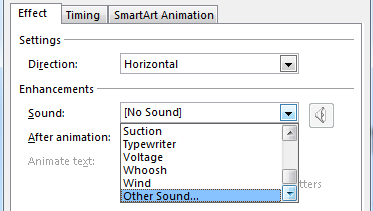 4. Click the Options arrow on an animation in the Animation Pane 5. Select Effect Options 6.