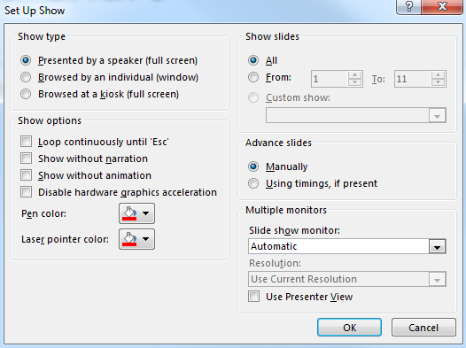 Presentation output The default PowerPoint settings assume that someone will deliver the show manually. To make a stand alone or cycling presentation: alter the output settings. Exercise 25.