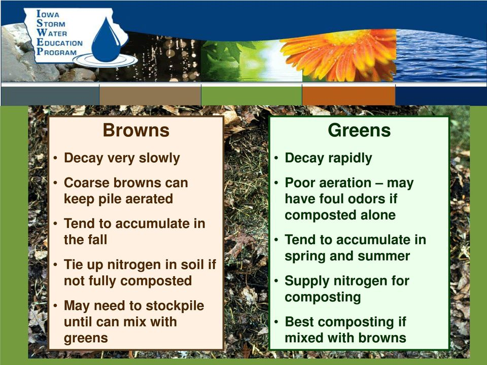 nitrogen in soil if not fully composted May need to stockpile until can mix with greens