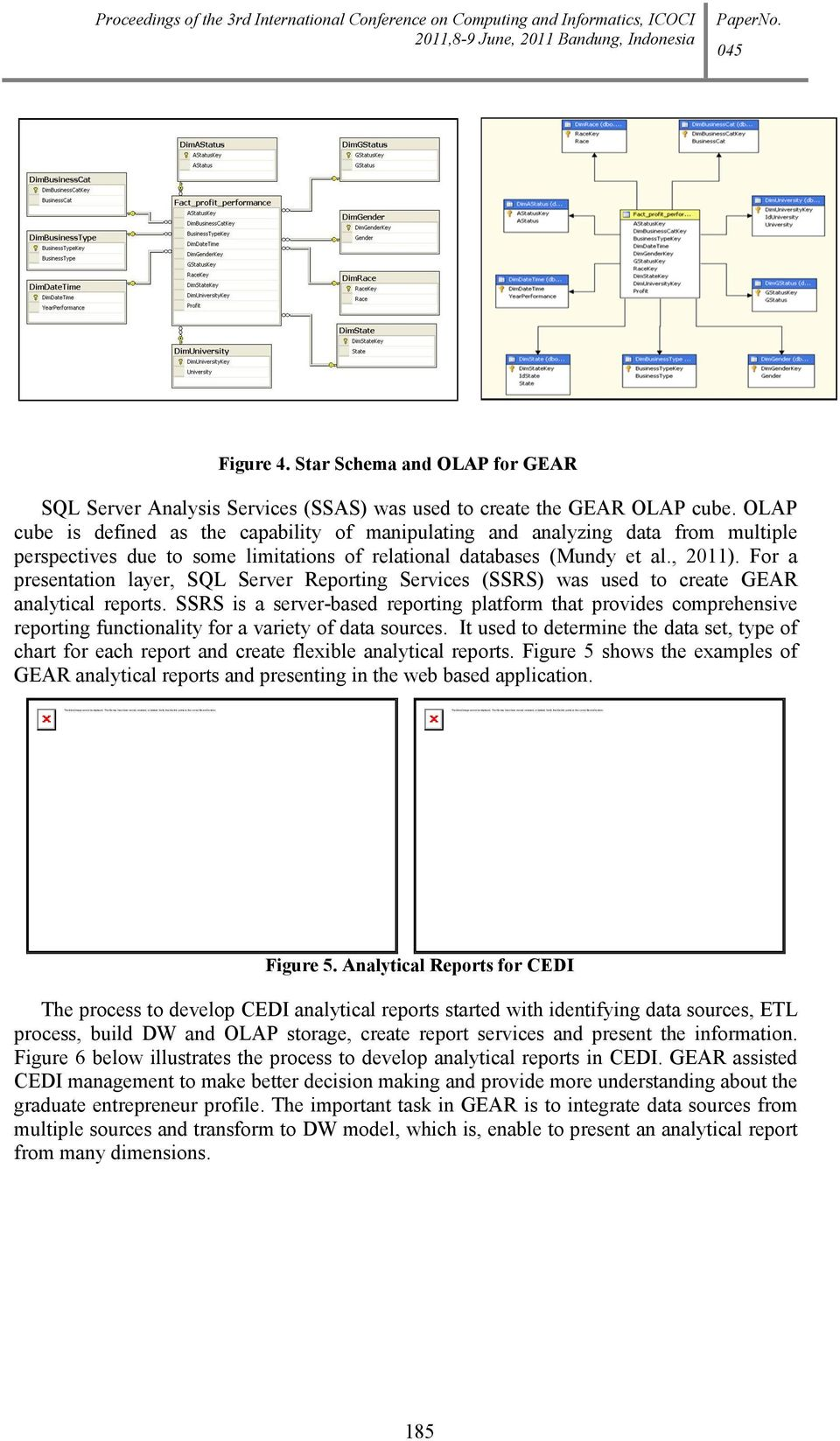 Proceedings of the 3rd International Conference on Computing and Informatics, ICOCI Figure 4. Star Schema and OLAP for GEAR SQL Server Analysis Services (SSAS) was used to create the GEAR OLAP cube.
