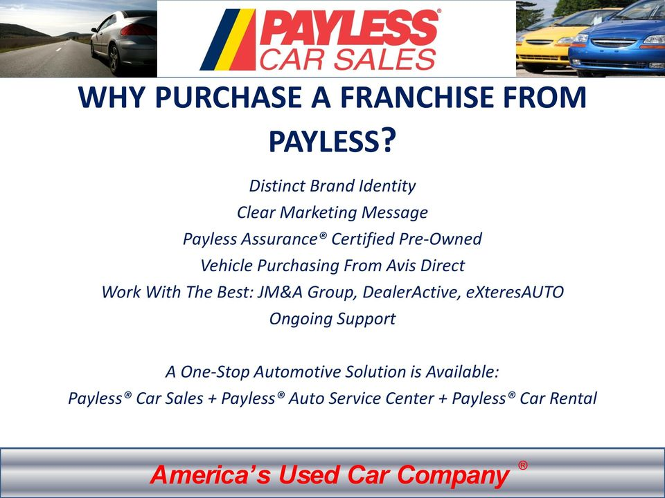 payless car sales franchise opportunity pdf. Black Bedroom Furniture Sets. Home Design Ideas