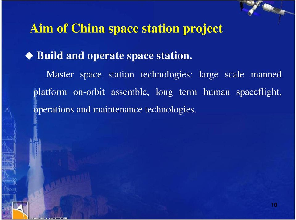 Master space station technologies: large scale manned
