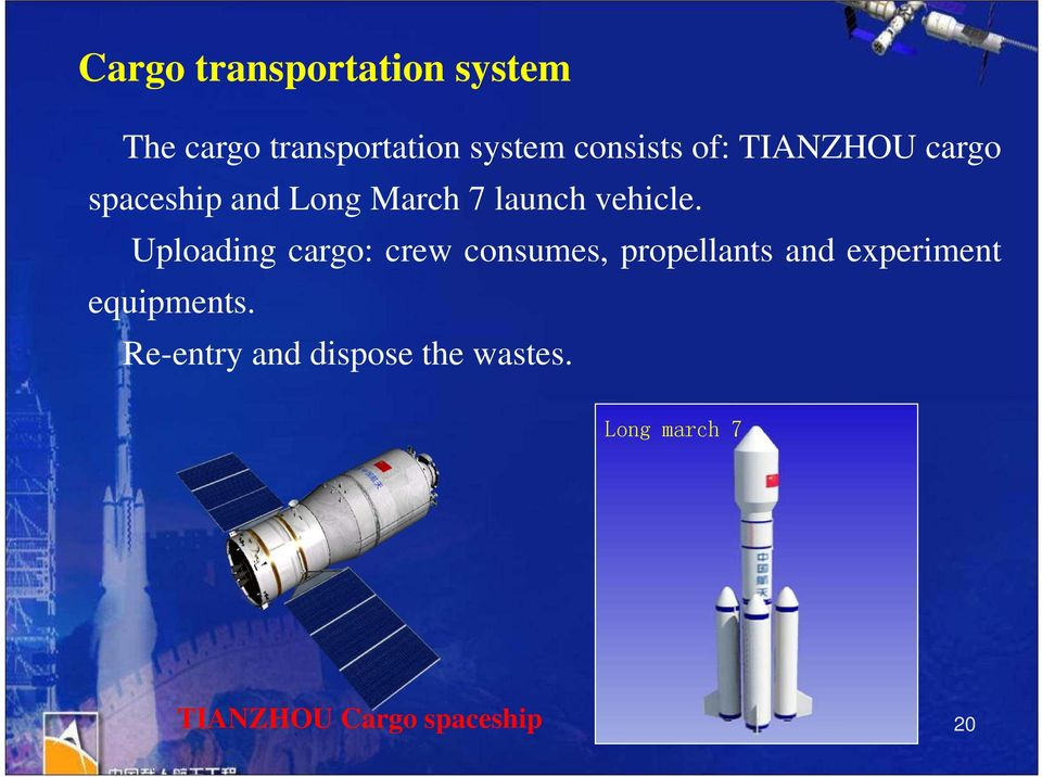 Uploading cargo: crew consumes, propellants and experiment