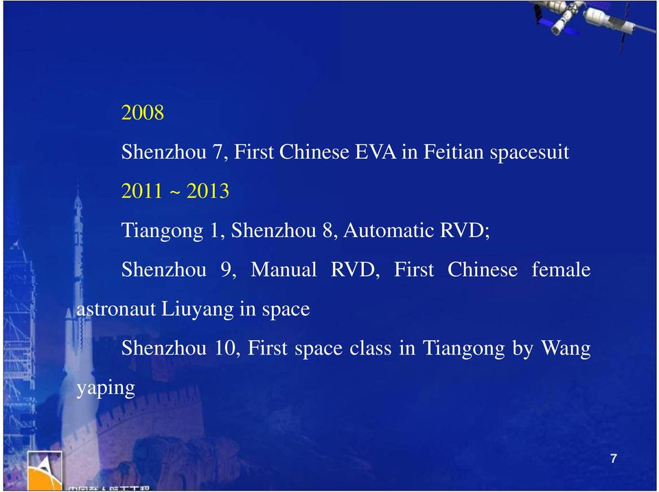 9, Manual RVD, First Chinese female astronaut Liuyang in