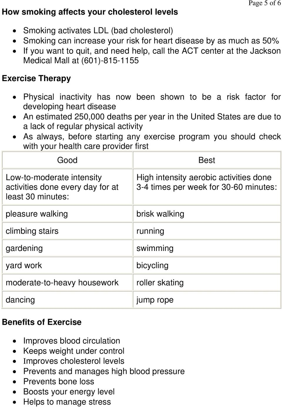 per year in the United States are due to a lack of regular physical activity As always, before starting any exercise program you should check with your health care provider first Good Best