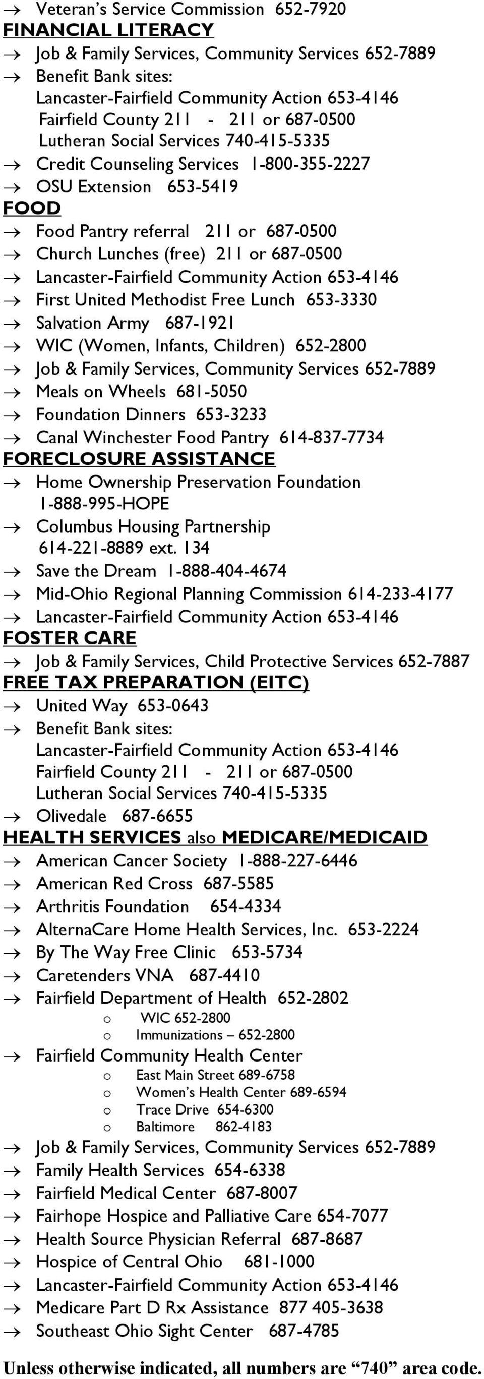 Infants, Children) 652-2800 Meals on Wheels 681-5050 Foundation Dinners 653-3233 Canal Winchester Food Pantry 614-837-7734 FORECLOSURE ASSISTANCE Home Ownership Preservation Foundation 1-888-995-HOPE
