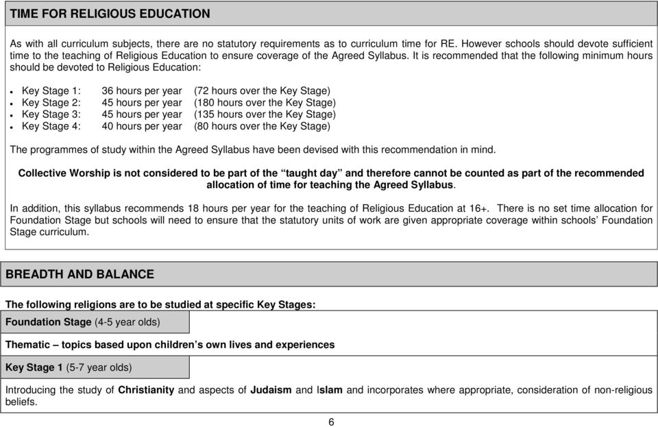 It is recommended that the following minimum hours should be devoted to Religious Education: Key Stage 1: 36 hours per year (72 hours over the Key Stage) Key Stage 2: 45 hours per year (180 hours