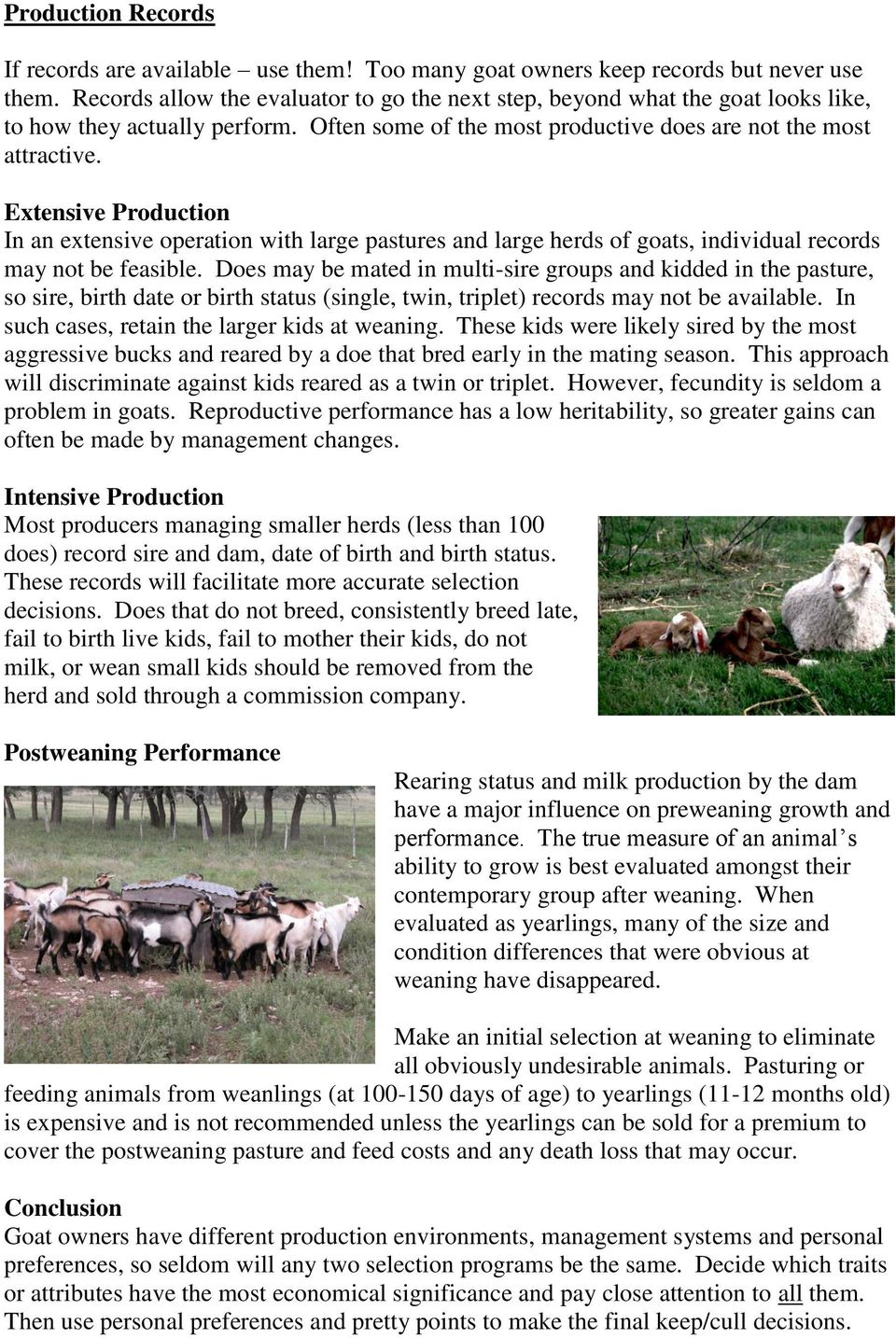 Extensive Production In an extensive operation with large pastures and large herds of goats, individual records may not be feasible.