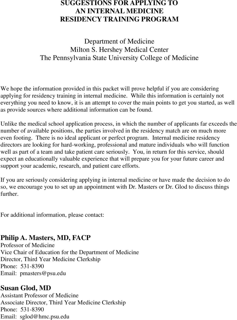 Internal medicine residency essay