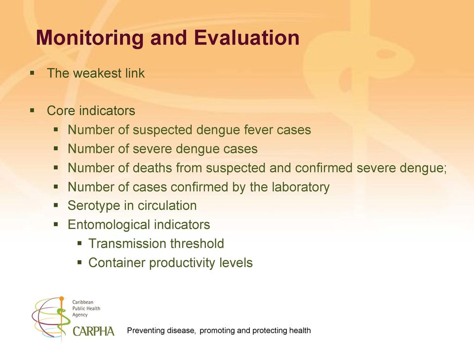 Number of deaths from suspected and confirmed severe dengue;!
