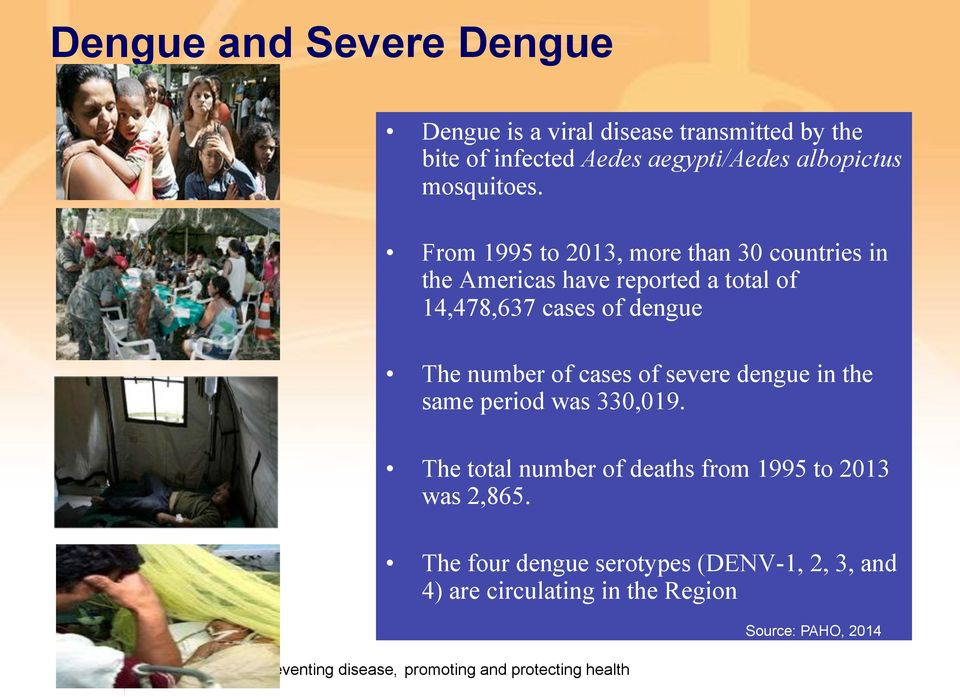 From 1995 to 2013, more than 30 countries in the Americas have reported a total of 14,478,637 cases of dengue The