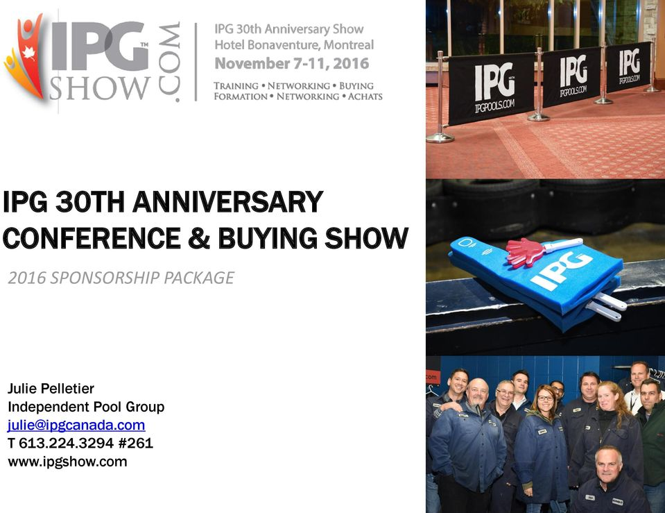 Ipg 30th anniversary conference buying show pdf for Ipg pool show