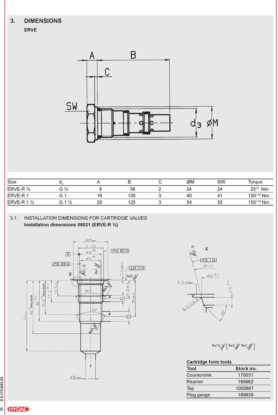 INSTALLATION DIMENSIONS FOR CARTRIDGE VALVES Installation dimensions 08021 (ERVE-R ½)