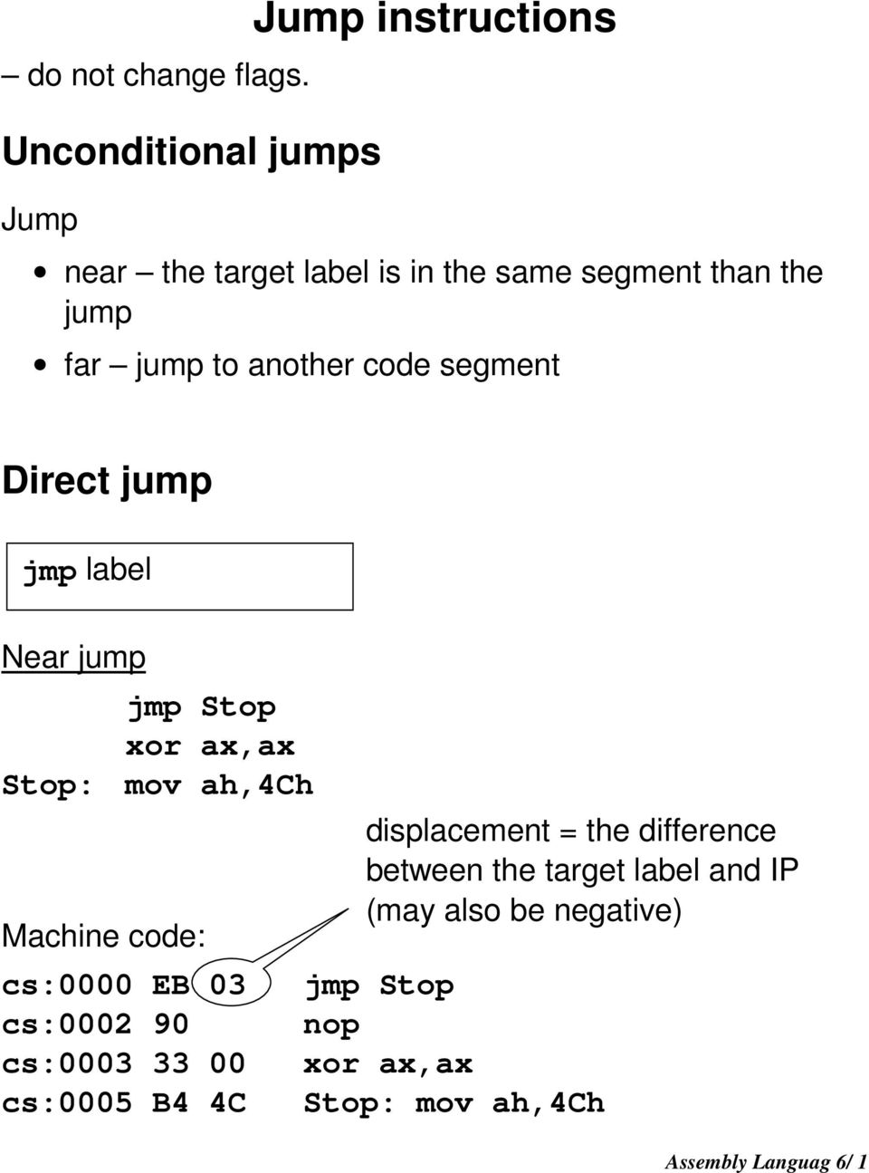 jump instruction in assembly language
