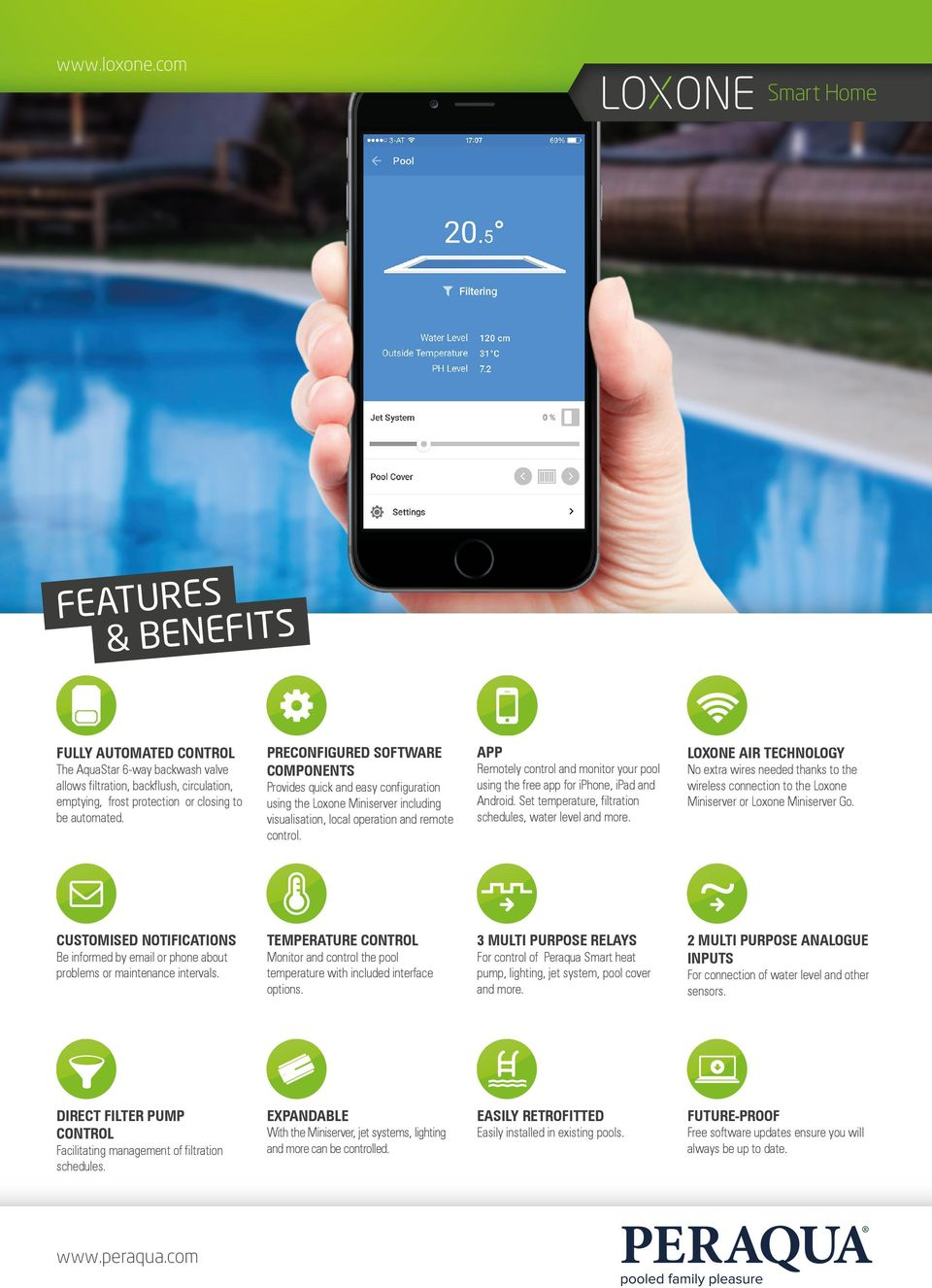 APP Remotely control and monitor your pool using the free app for iphone, ipad and Android. Set temperature, filtration schedules, water level and more.