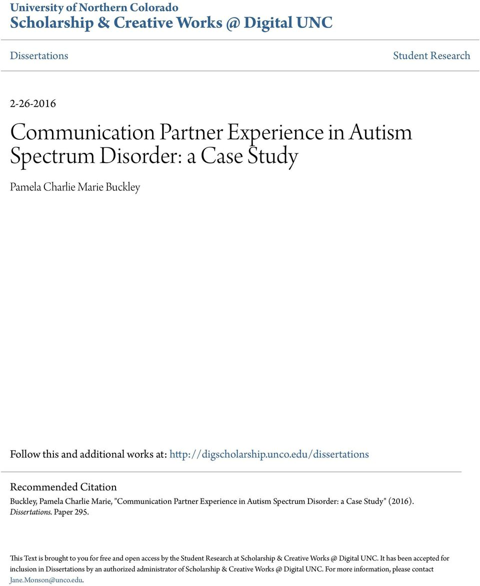case study of autism spectrum disorder Children and adults with autism spectrum disorder (asd) have social communication and interaction difficulties and show restricted, repetitive, and stereotyped.