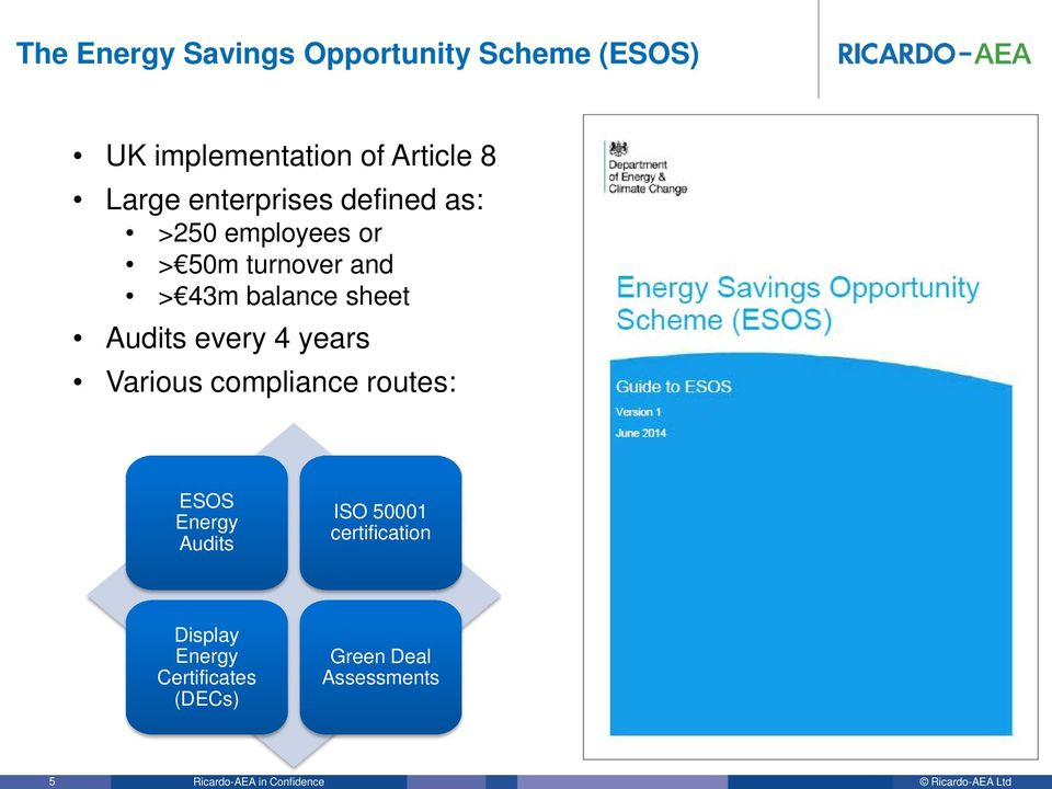 balance sheet Audits every 4 years Various compliance routes: ESOS Energy