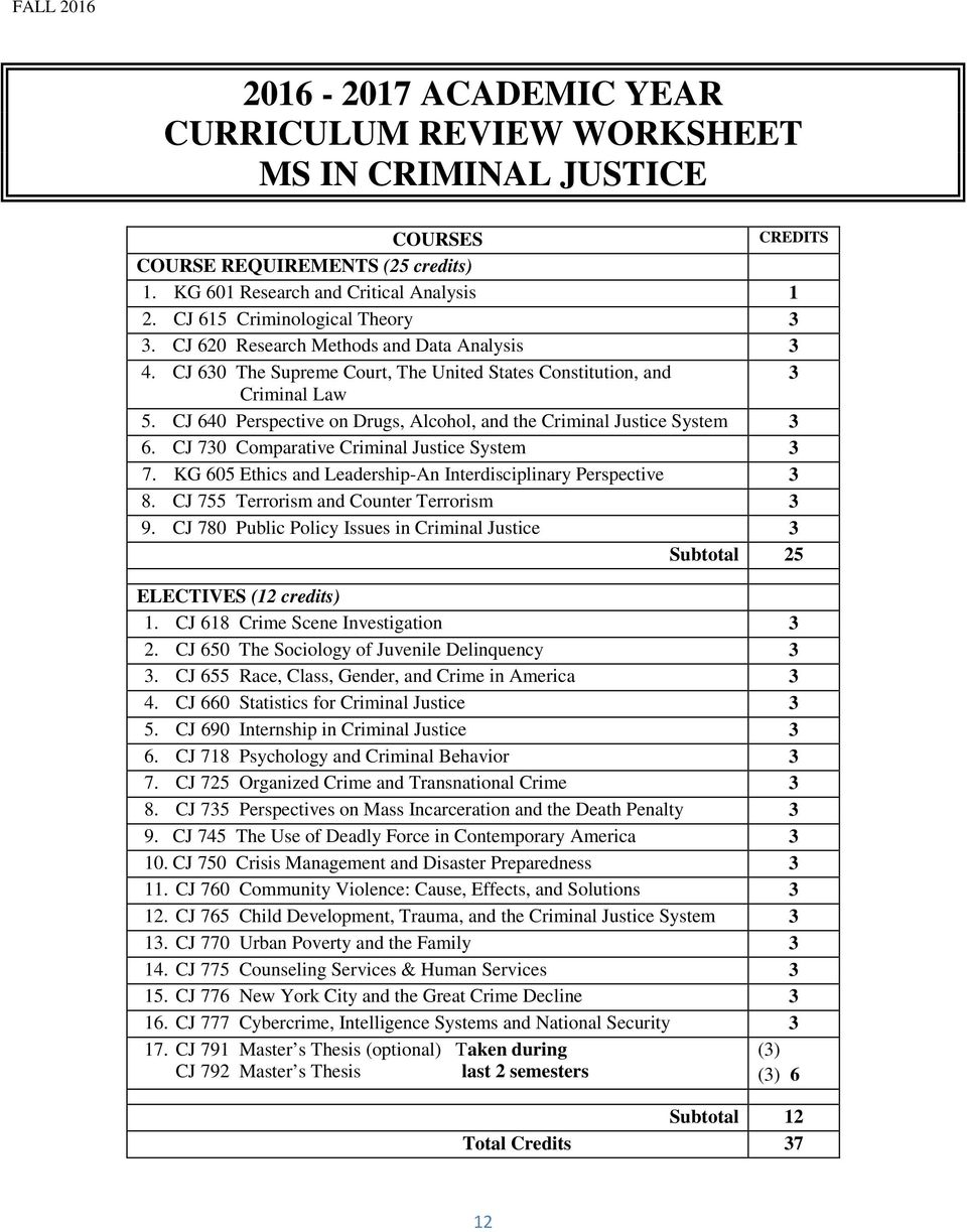 CJ 70 Comparative Criminal Justice System 7. KG 605 Ethics and Leadership-An Interdisciplinary Perspective 8. CJ 755 Terrorism and Counter Terrorism 9.