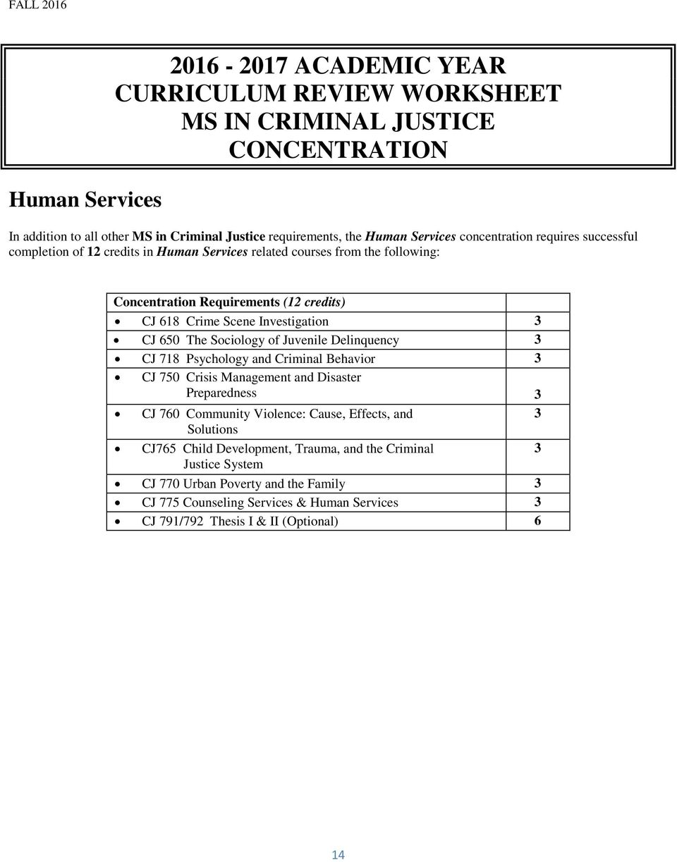The Sociology of Juvenile Delinquency CJ 718 Psychology and Criminal Behavior CJ 750 Crisis Management and Disaster Preparedness CJ 760 Community Violence: Cause, Effects, and