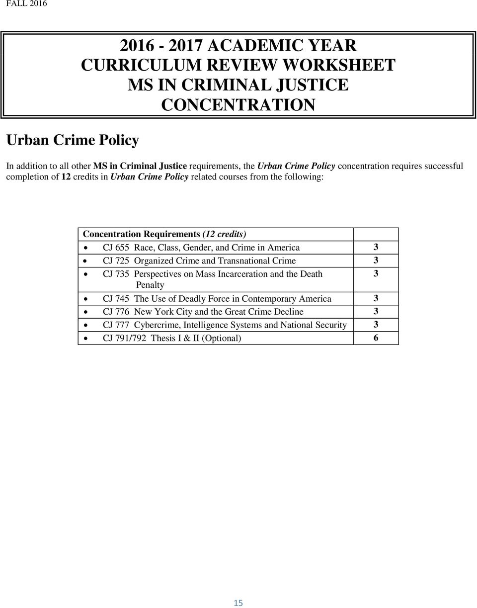 Class, Gender, and Crime in America CJ 725 Organized Crime and Transnational Crime CJ 75 Perspectives on Mass Incarceration and the Death Penalty CJ 745 The Use of Deadly