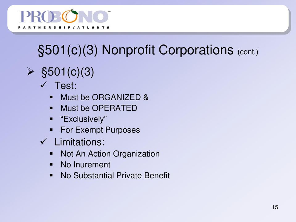 OPERATED Exclusively For Exempt Purposes