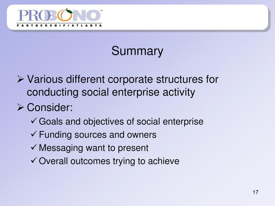 objectives of social enterprise Funding sources and