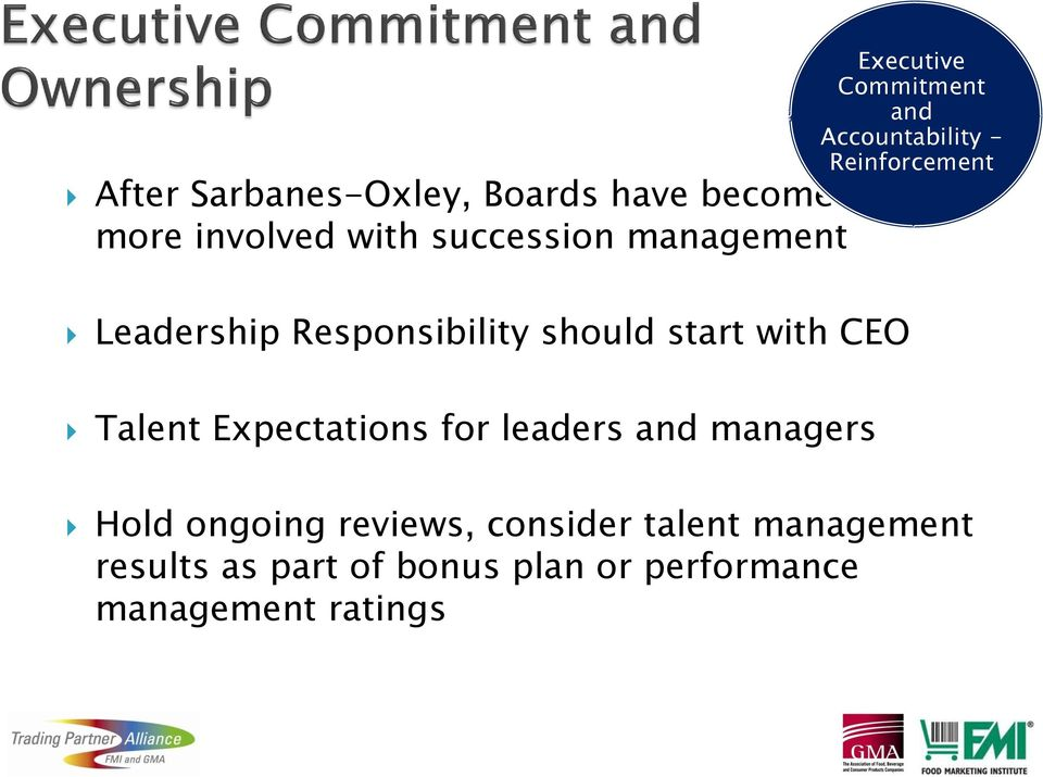 Accountability - Reinforcement Talent Expectations for leaders and managers Hold