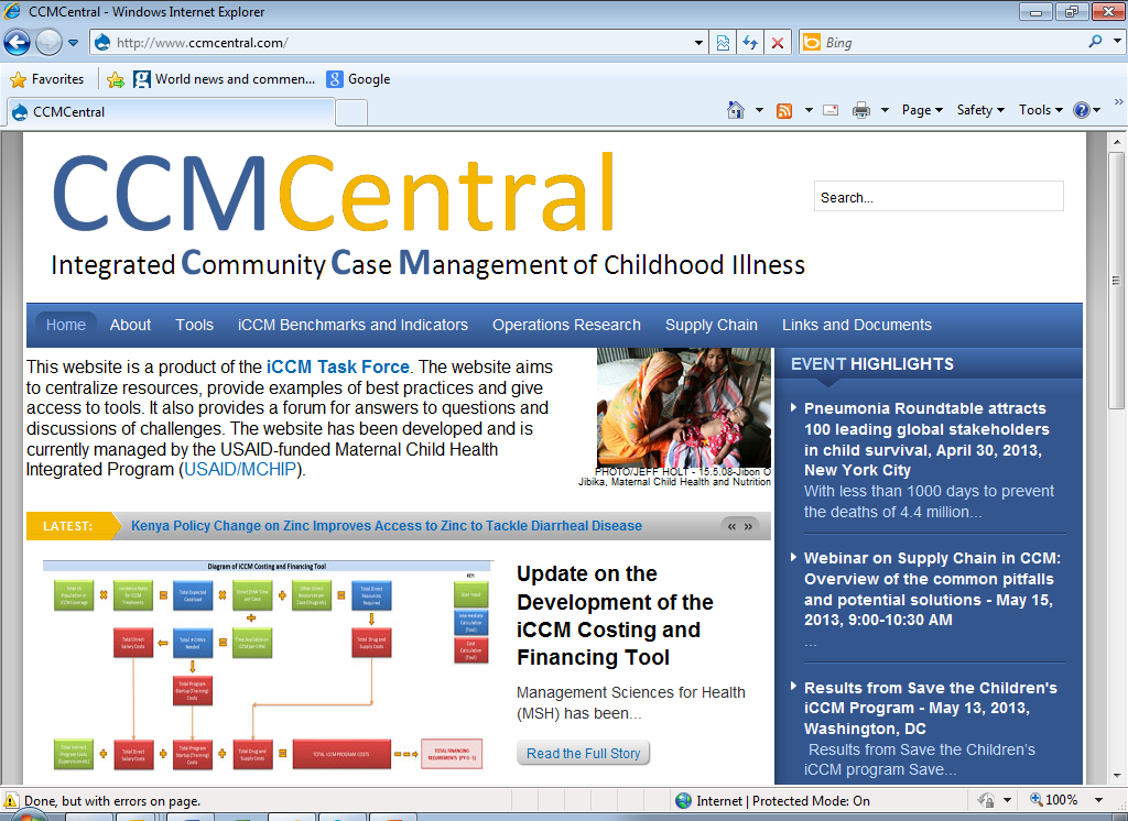 Resources CCM Essentials Treating Common Childhood Illnesses in the Community CCM Detailed Implementation Plan Outline (Save, 2008) Managing Programmes to Improve Child Health (WHO) Quantification of