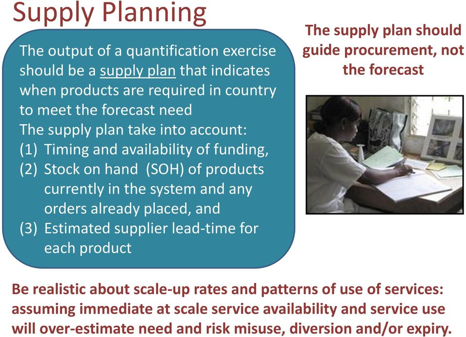 placed, and (3) Estimated supplier lead-time for each product The supply plan should guide procurement, not the forecast Be realistic about scale-up rates and