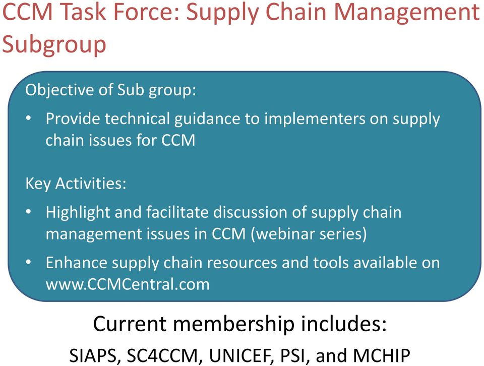 supply chain task 2 Shrimp sustainable supply chain task force overview and progress update – may 2015 established in july 2014, the shrimp sustainable supply chain task force (task.