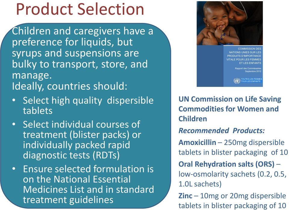 Ensure selected formulation is on the National Essential Medicines List and in standard treatment guidelines UN Commission on Life Saving Commodities for Women and Children