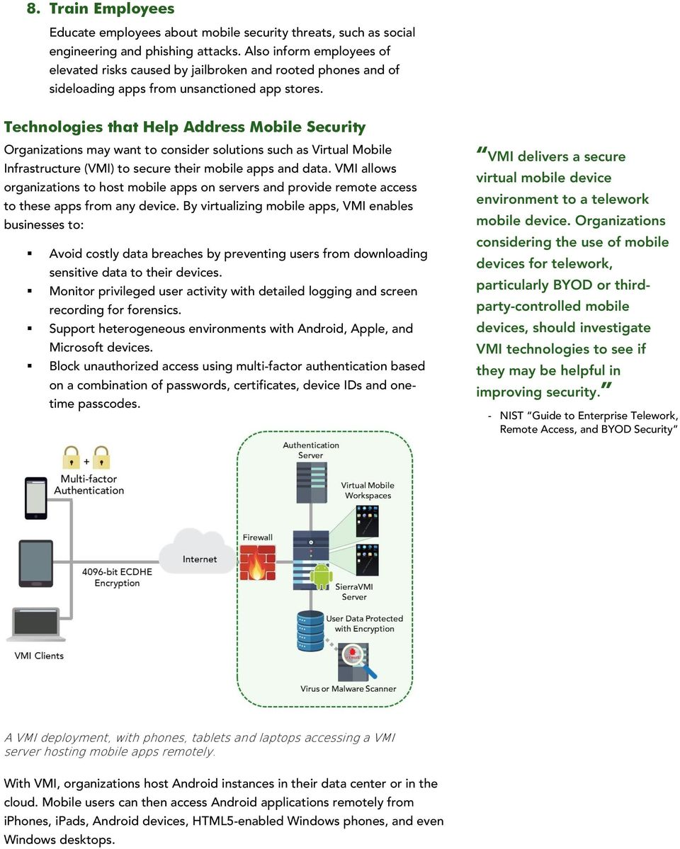 Technologies that Help Address Mobile Security Organizations may want to consider solutions such as Virtual Mobile Infrastructure (VMI) to secure their mobile apps and data.