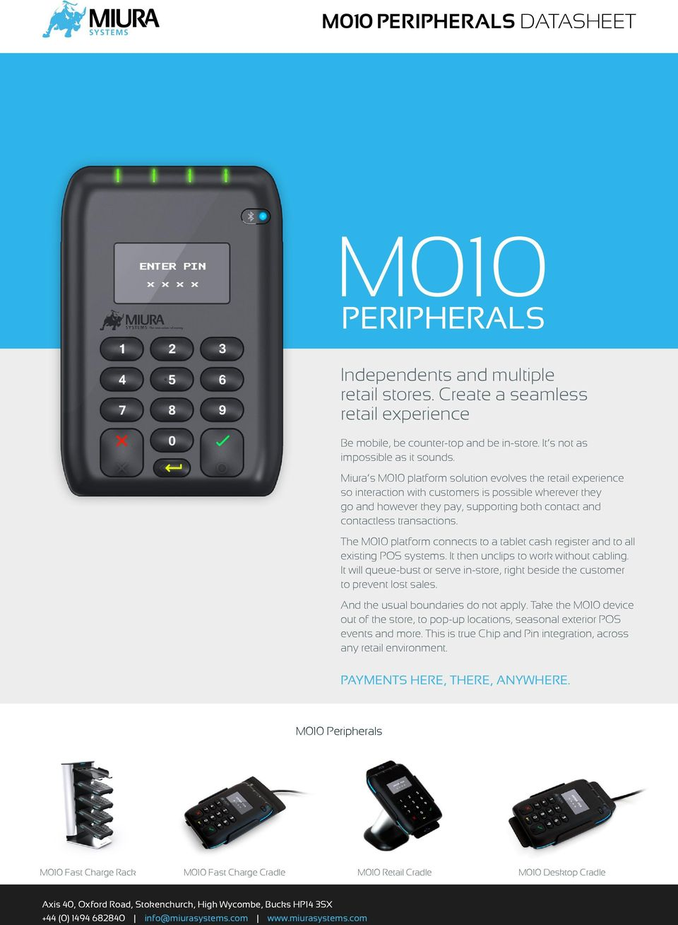 The M010 platform connects to a tablet cash register and to all existing POS systems. It then unclips to work without cabling.
